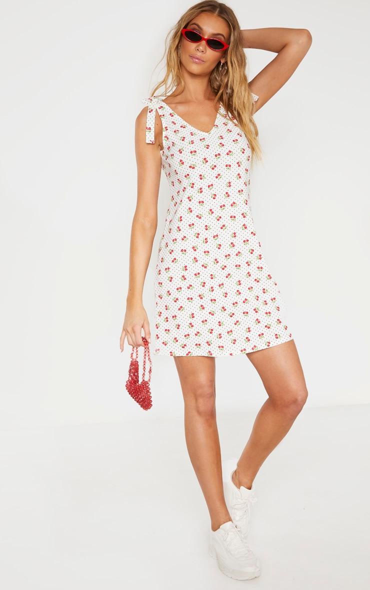Tall Cherry Print Strappy Tie Slip Dress 4