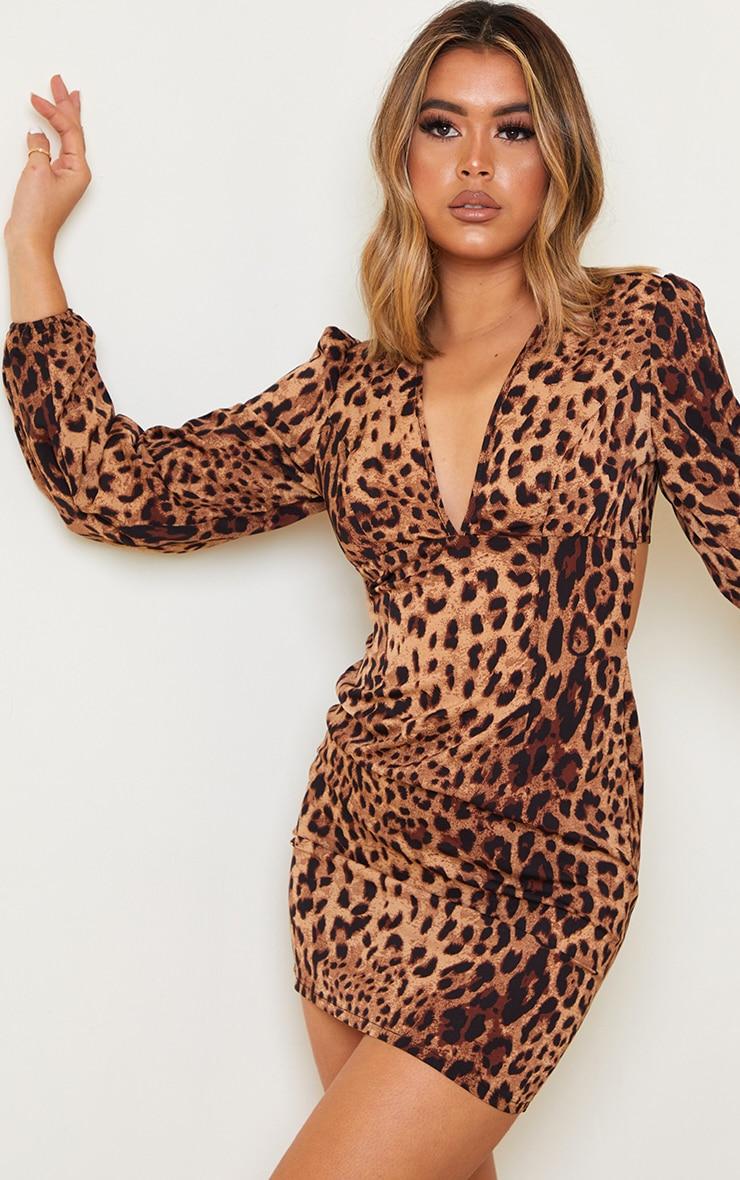 Tan Leopard Print Balloon Sleeve Lace Up Back Bodycon Dress 3