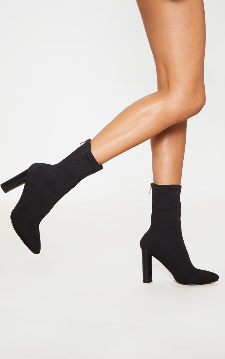 Black Woven Sock Heeled Boots  2