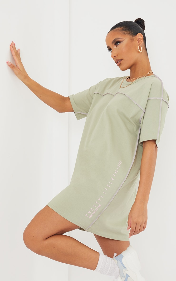 Sage Green Cotton Contrast Stitching Binding Detail T Shirt Dress