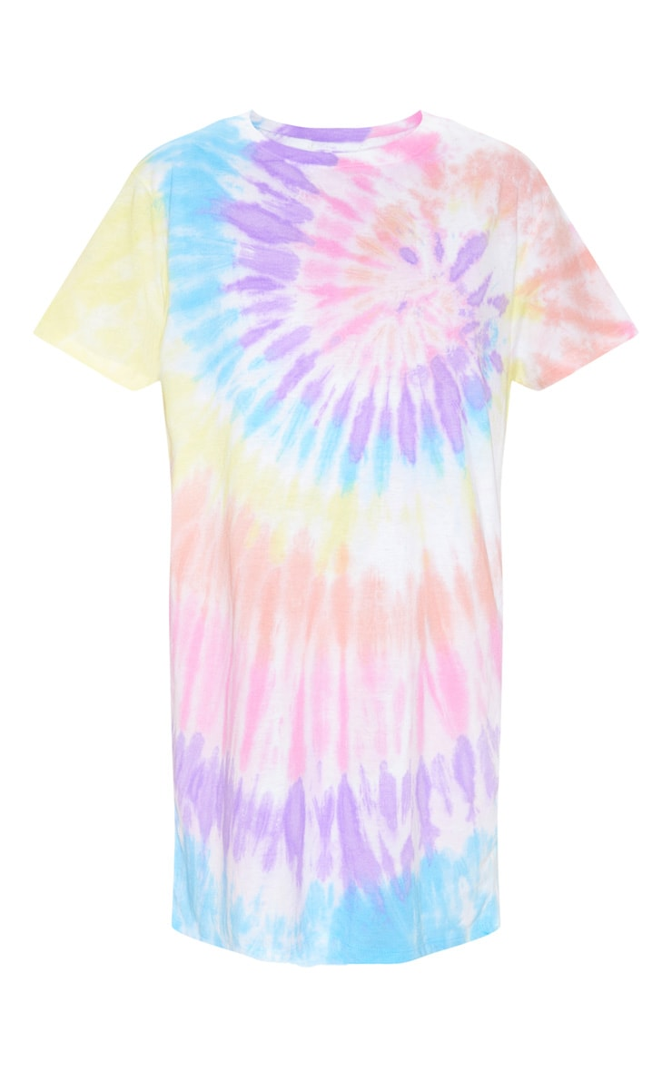 Multi Tie Dye Oversized T Shirt Dress 3
