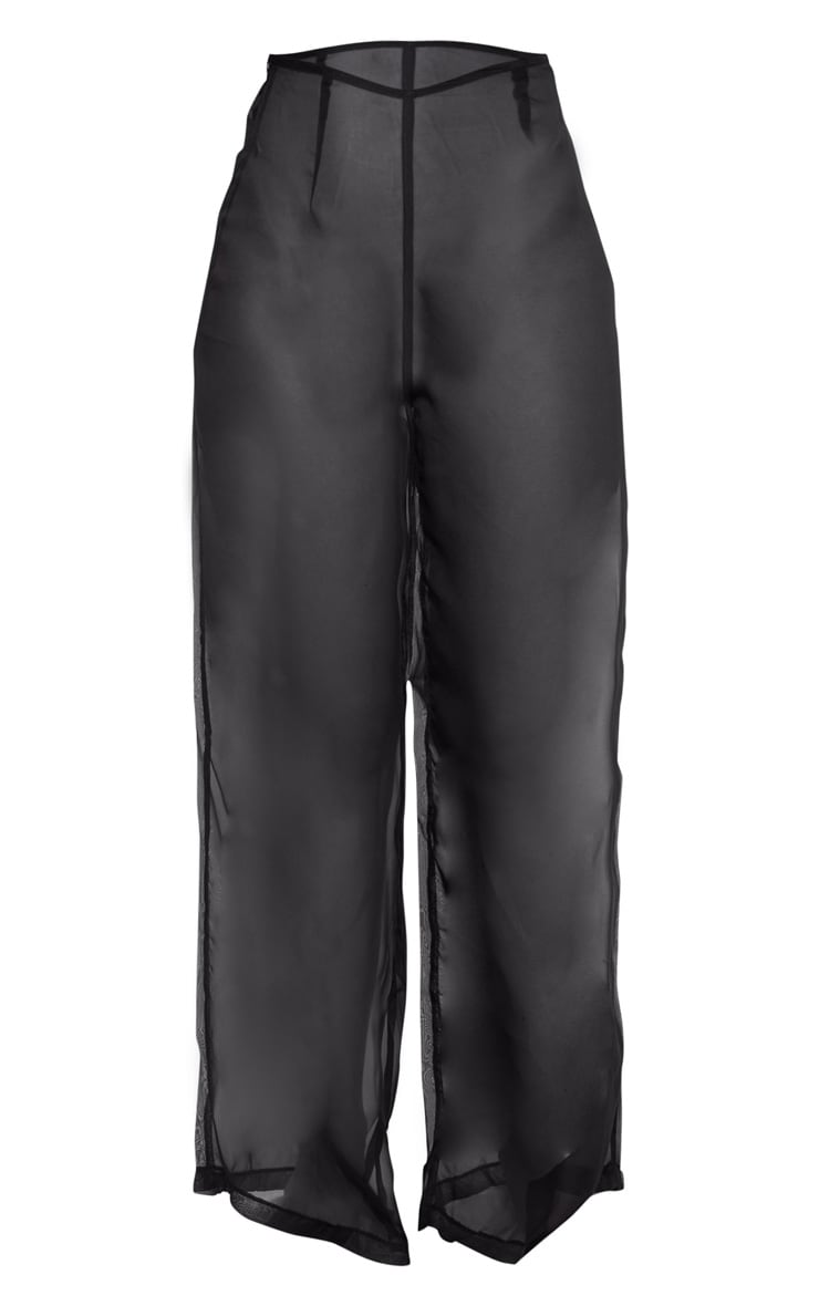 Black Wide Leg Beach Trouser 6