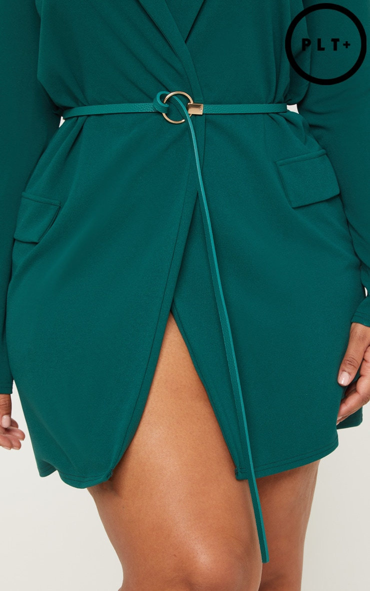 Plus Emerald Green Gold Buckle Detail Tie Belt by Prettylittlething