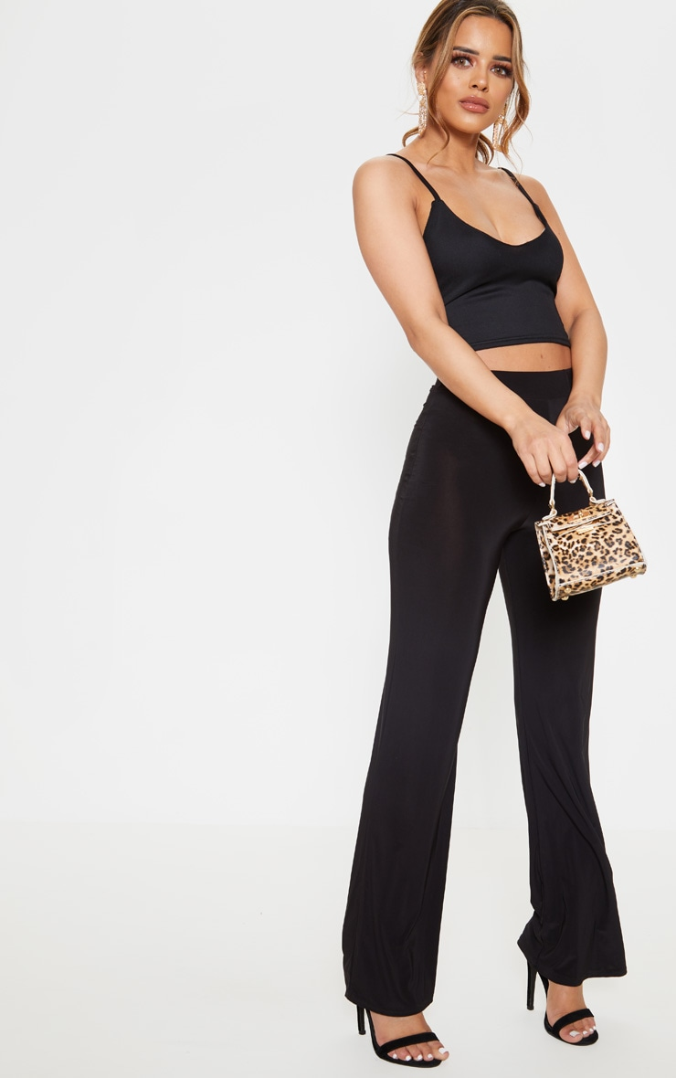 Petite Black Cropped Mesh Overlay Strappy Top 4
