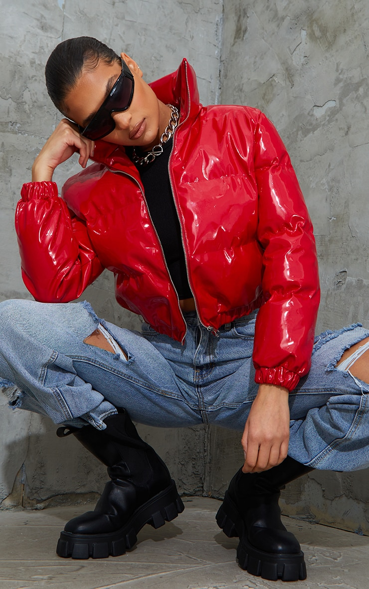 Red Cropped Vinyl Puffer 3
