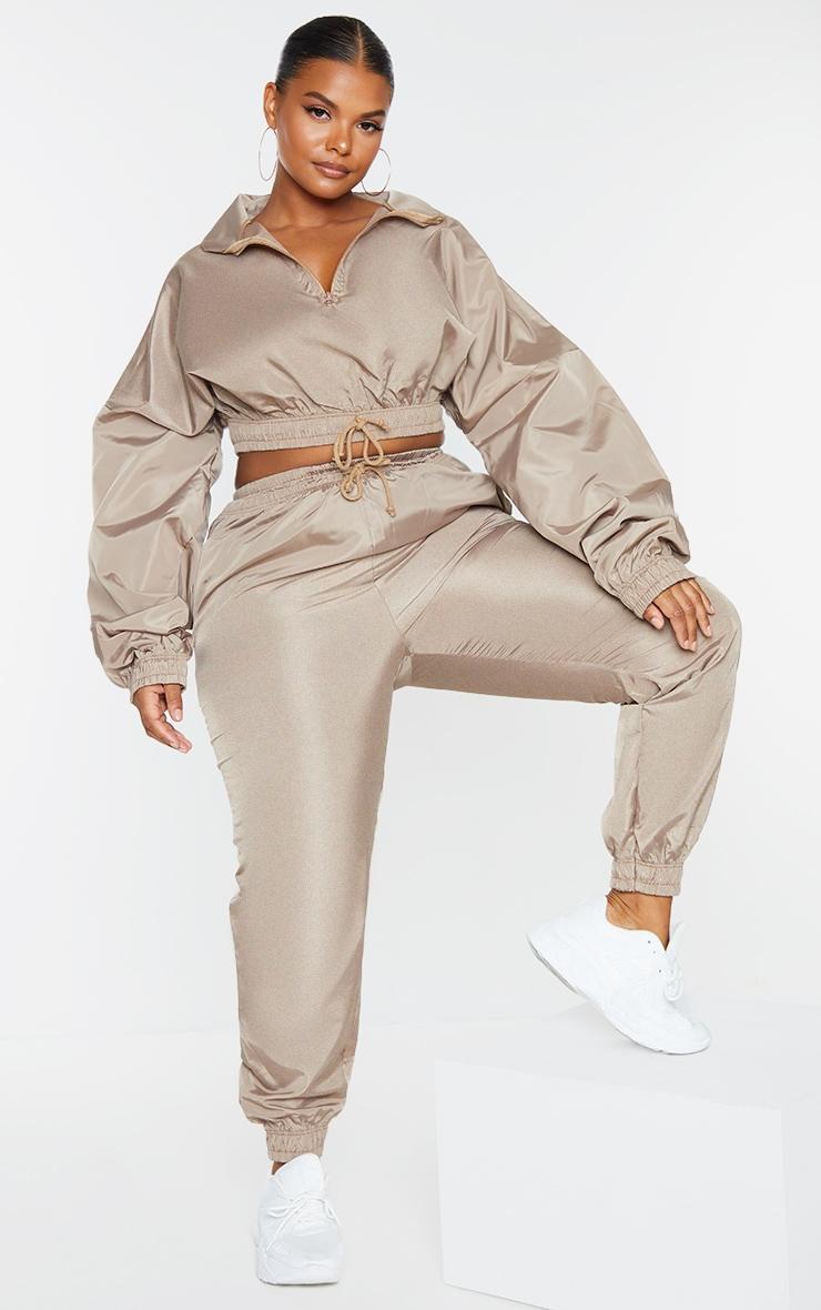 Plus Camel Shell Half Zip Jacket 1
