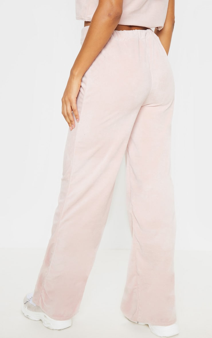 Rose Pink Velour High Waisted Wide Leg Pants 5