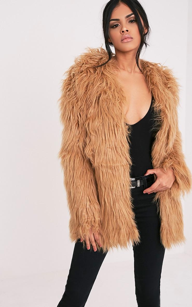 Amaria Camel Shaggy Faux Fur Jacket 1