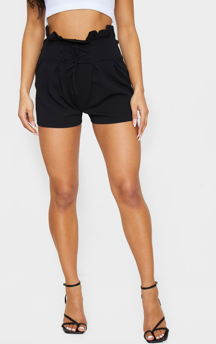 Black Lace Up Tailored Shorts 2