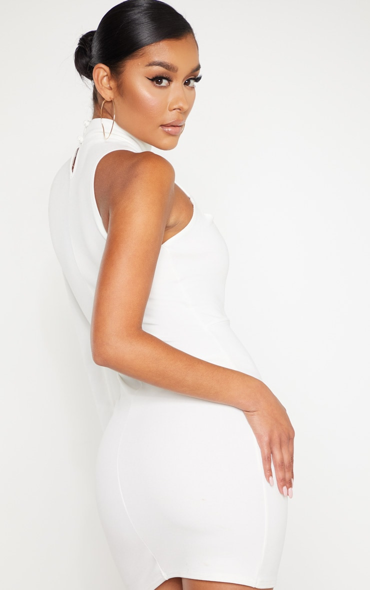 White One Shoulder Asymmetric Lace Up Bodycon Dress 2