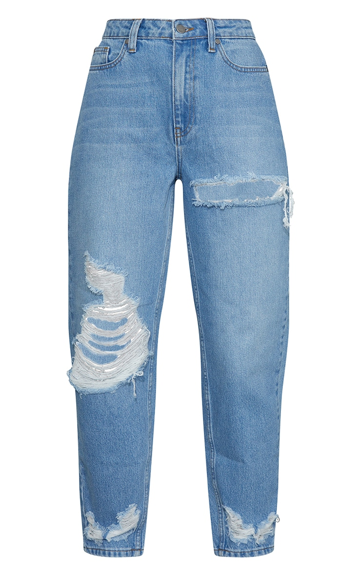 Light Blue Wash Distressed Boyfriend Jeans 5