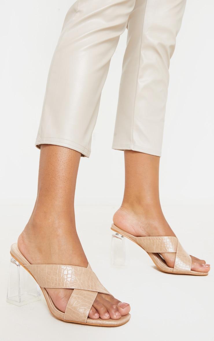Nude Wide Fit Cross Strap Clear Heel Mule Sandal 1