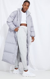 Tall Grey Longline Puffer Coat 3