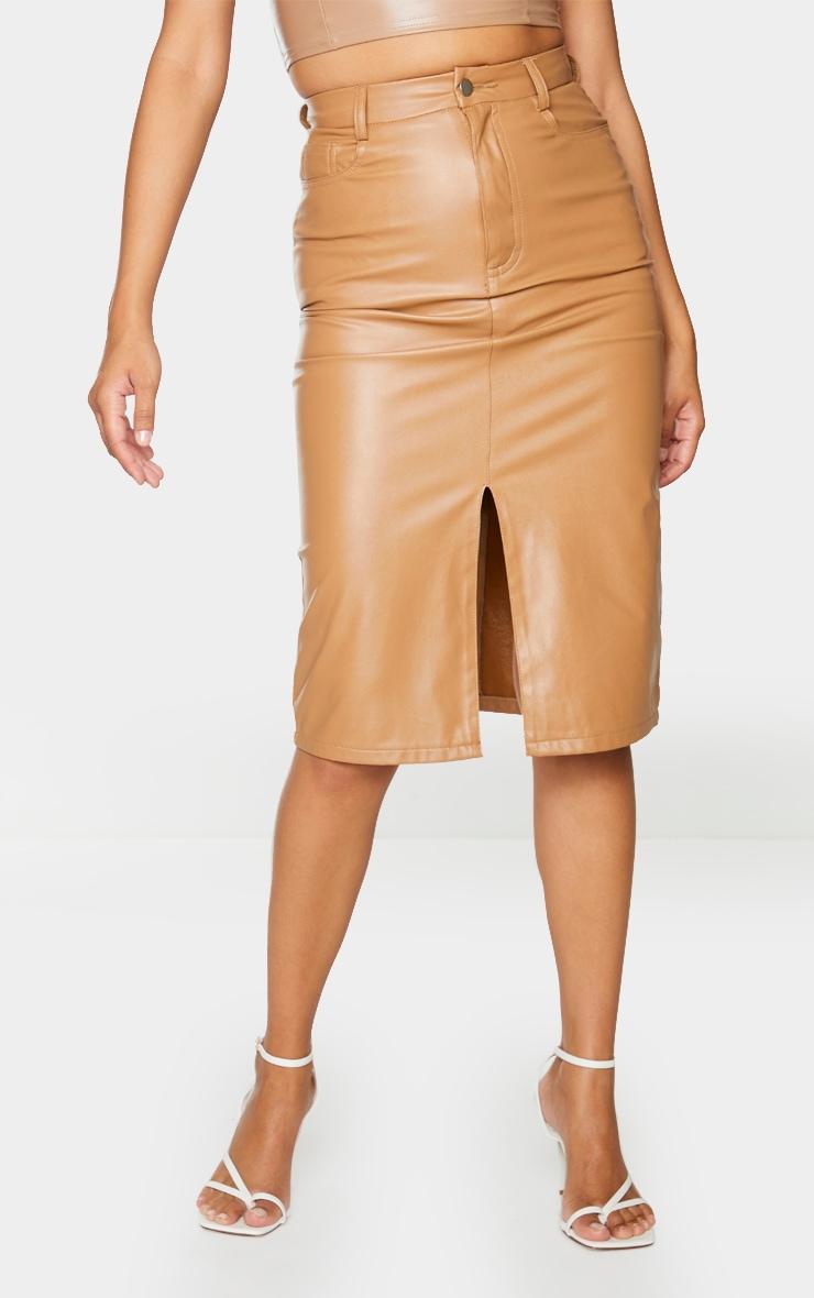 Camel Faux Leather Split Hem Midi Skirt 2