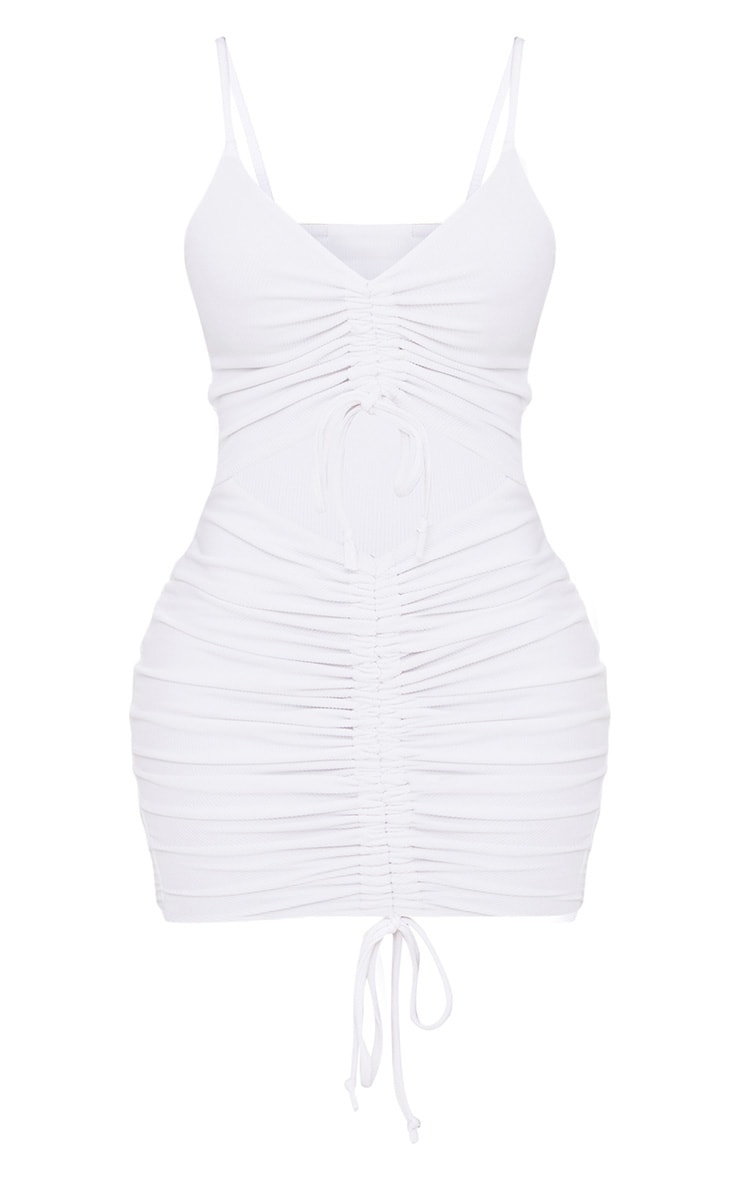 Shape White Ribbed Ruched Cut Out Midi Dress 3