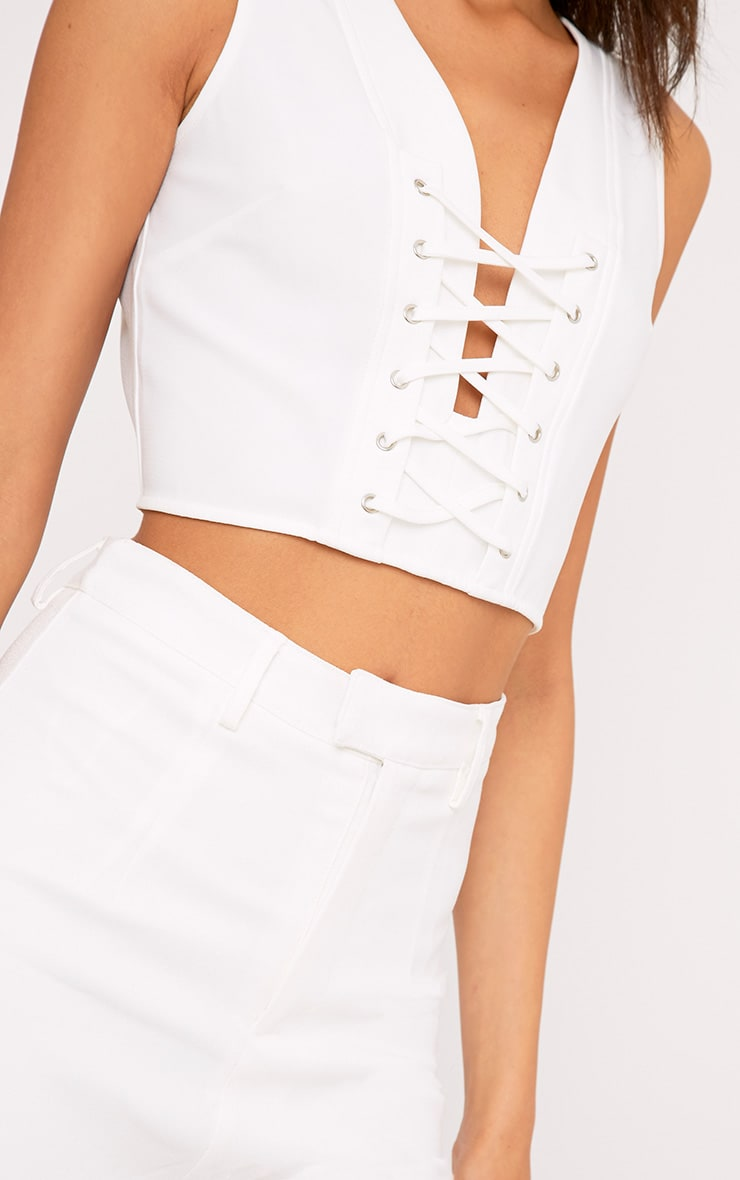 Ambrie Cream Lace Up Plunge Sleeveless Crop Top 5