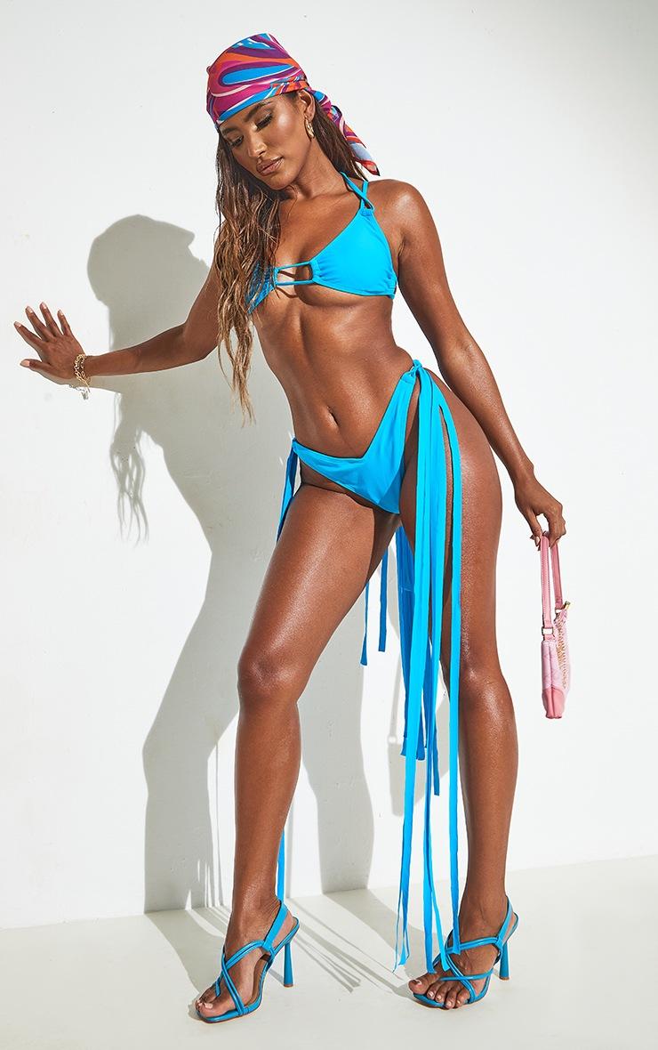 Blue Mini Tassel Tie Bikini Top 6