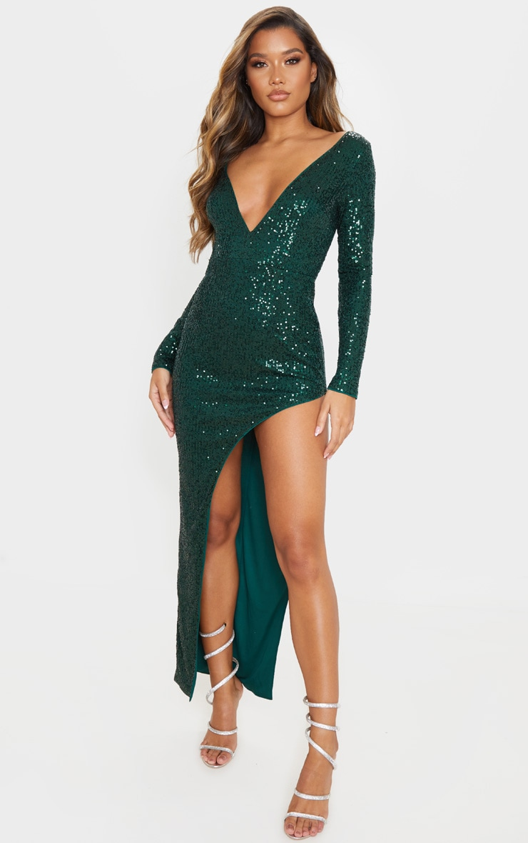 Emerald Green Sequin Long Sleeve Plunge Maxi Dress 1