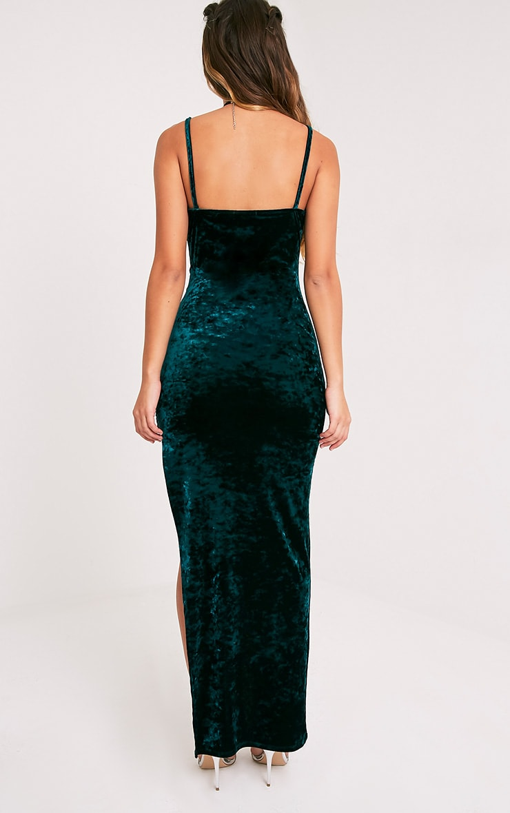Sansia Emerald Green Crushed Velvet Asymmetric Maxi Dress 2