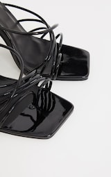 Black Wide Fit Patent Lace Up Block High Heels 4