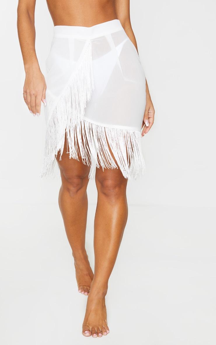 White Tassel Beach Skirt 2