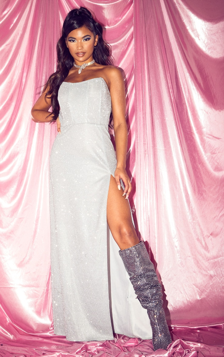 Silver Glitter Corset Extreme Split Maxi Dress 1
