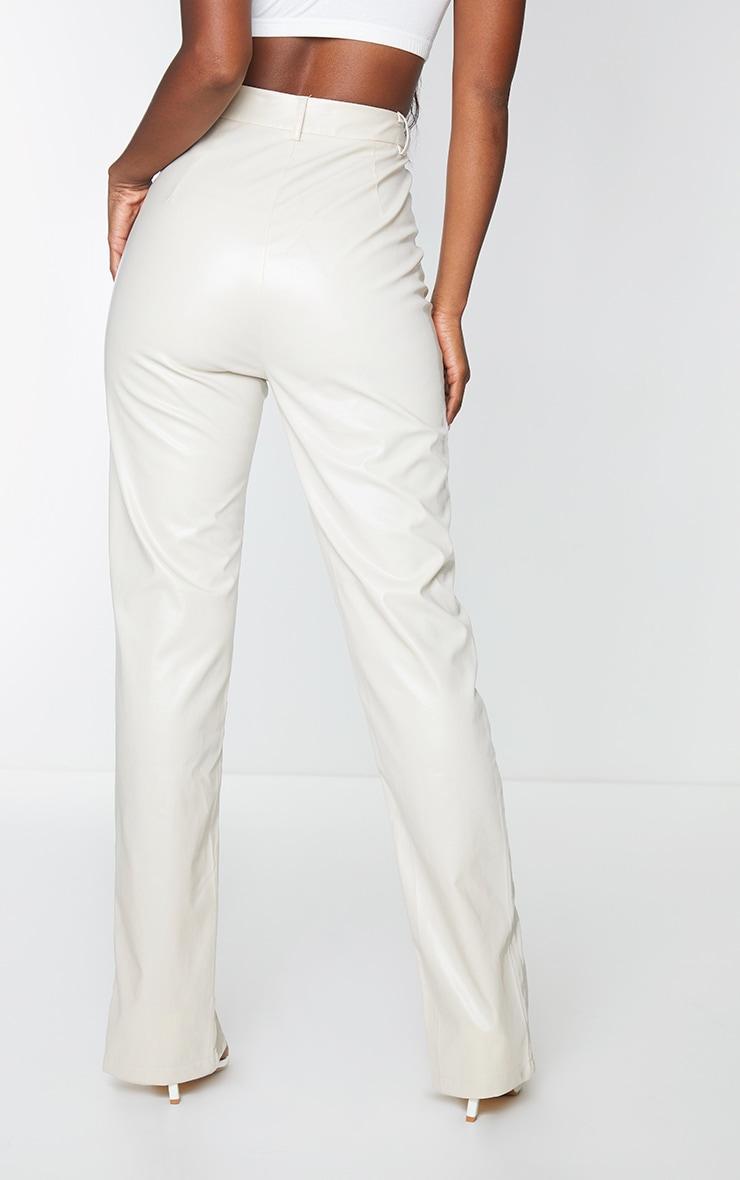 Cream Faux Leather Split Hem Seam Detail Skinny Pants 3