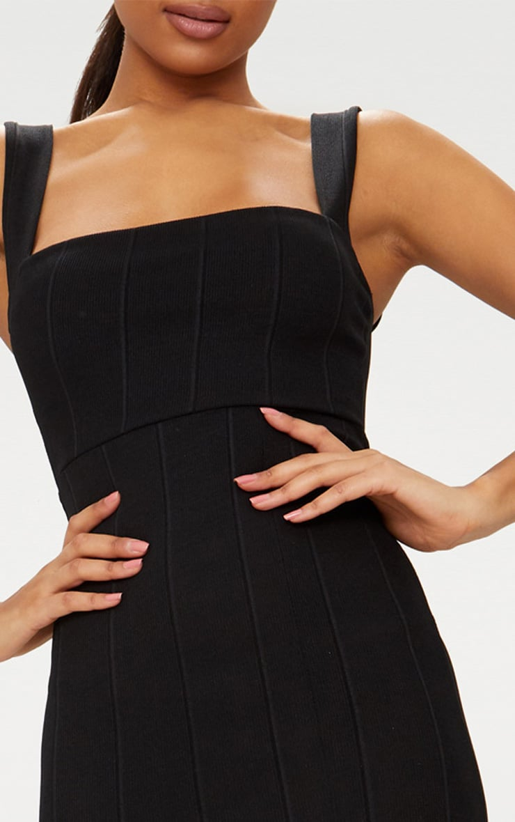 Black Bandage Square Neck Extreme Split Midi Dress 4