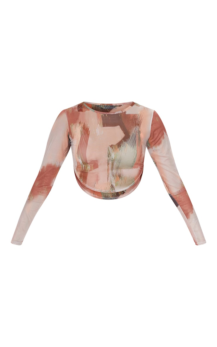 Green Abstract Paint Printed Mesh Curved Hem Crop Top 5