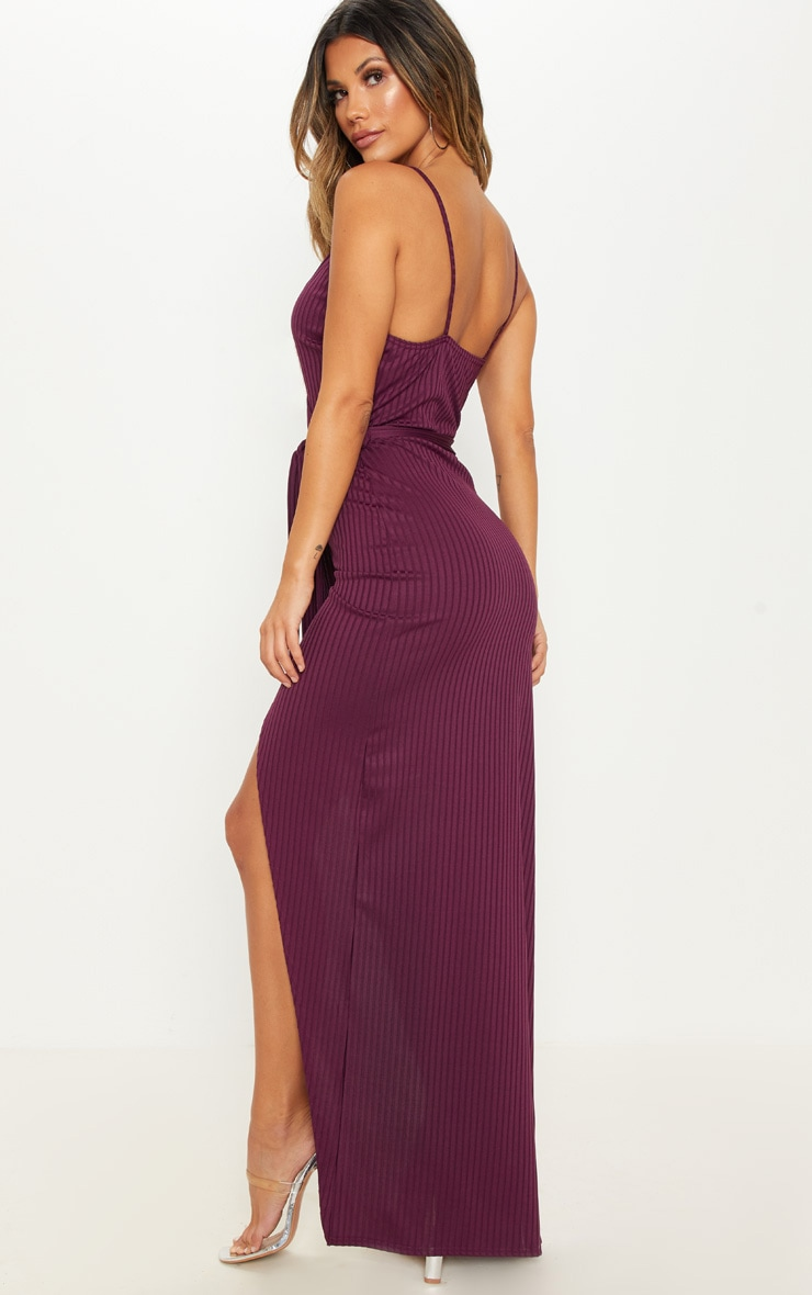 Plum Ribbed Wrap Maxi Dress 2