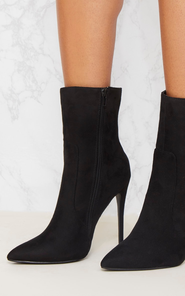 Black Faux Suede High Ankle Boot 6