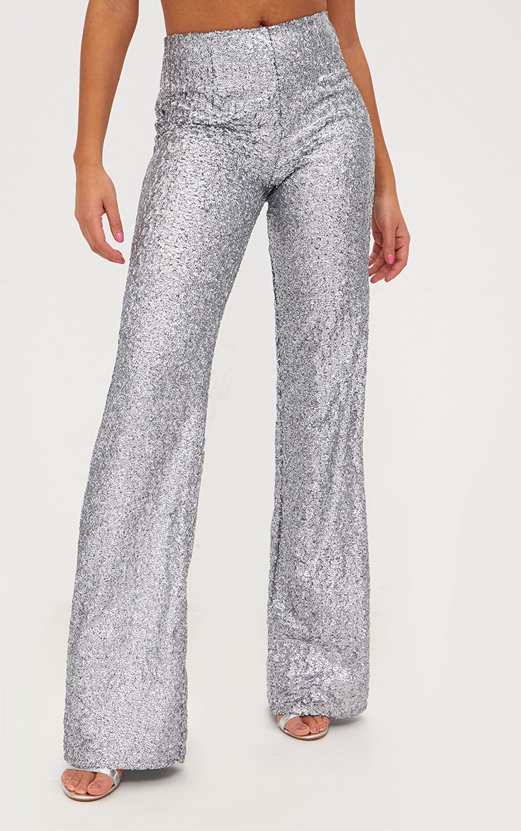 Silver Sequin Wide Leg Pants 2