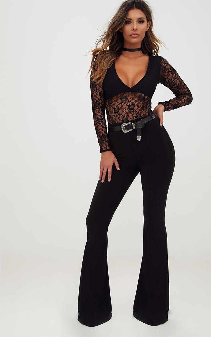 Black Lace V Neck Longsleeve Thong Bodysuit 3