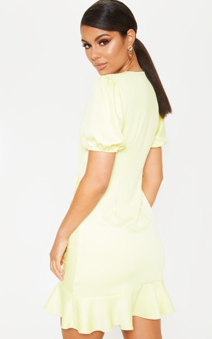 Pastel Lemon Satin Puff Sleeve Frill Bodycon Dress 2