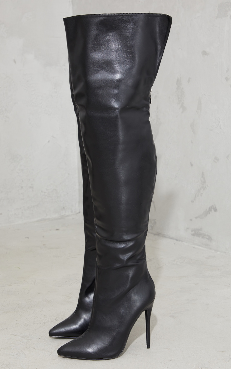 Black Faux Leather Pointed High Heel Over The Knee Boots 3