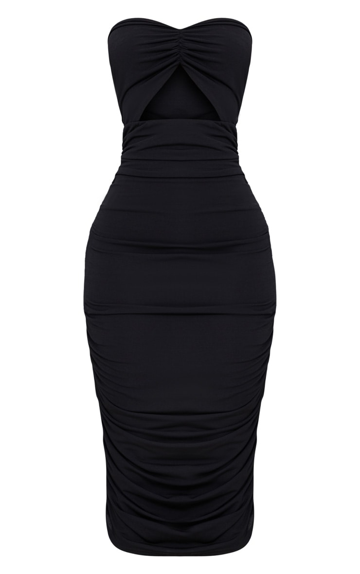 Shape Black Slinky Cut Out Ruched Bandeau Midi Dress 3