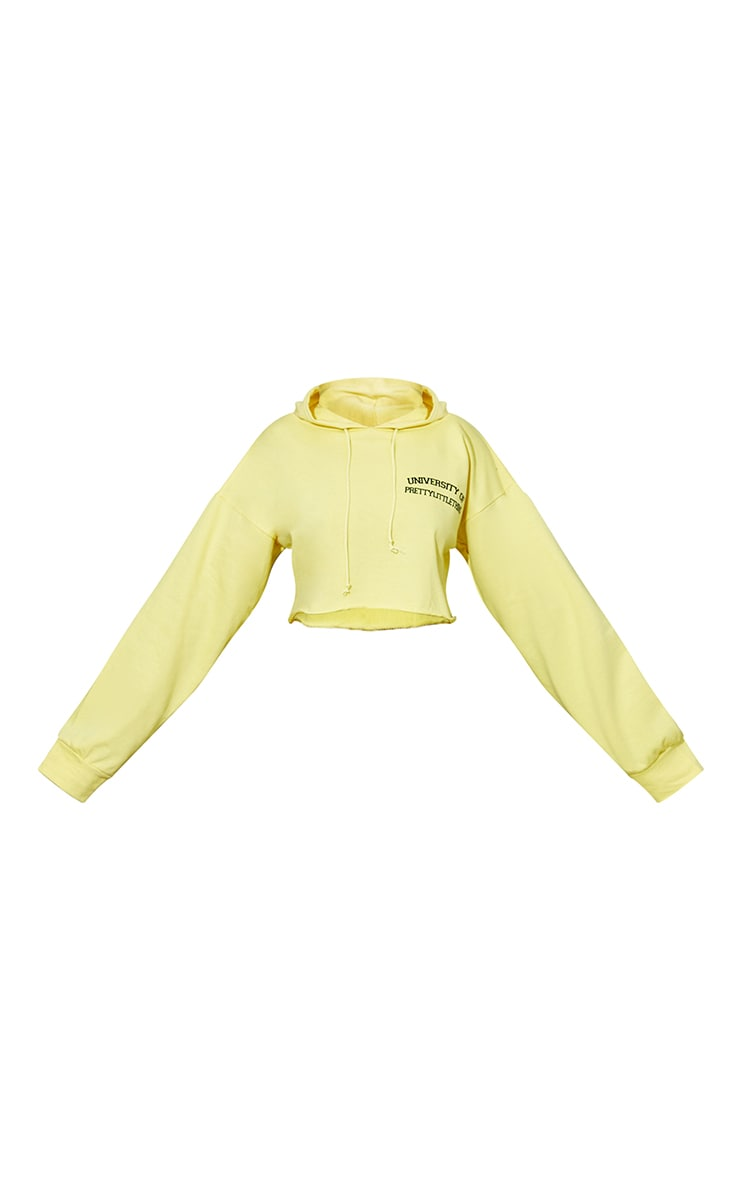 PRETTYLITTLETHING Petite Yellow Cropped Hoodie 5