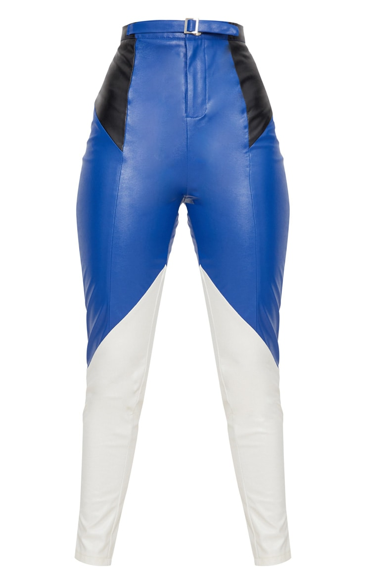 Blue Faux Leather Belted Motocross Pants 3