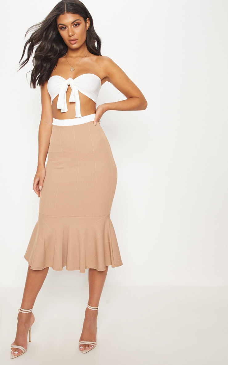 Stone Bandage Fishtail Midi Skirt
