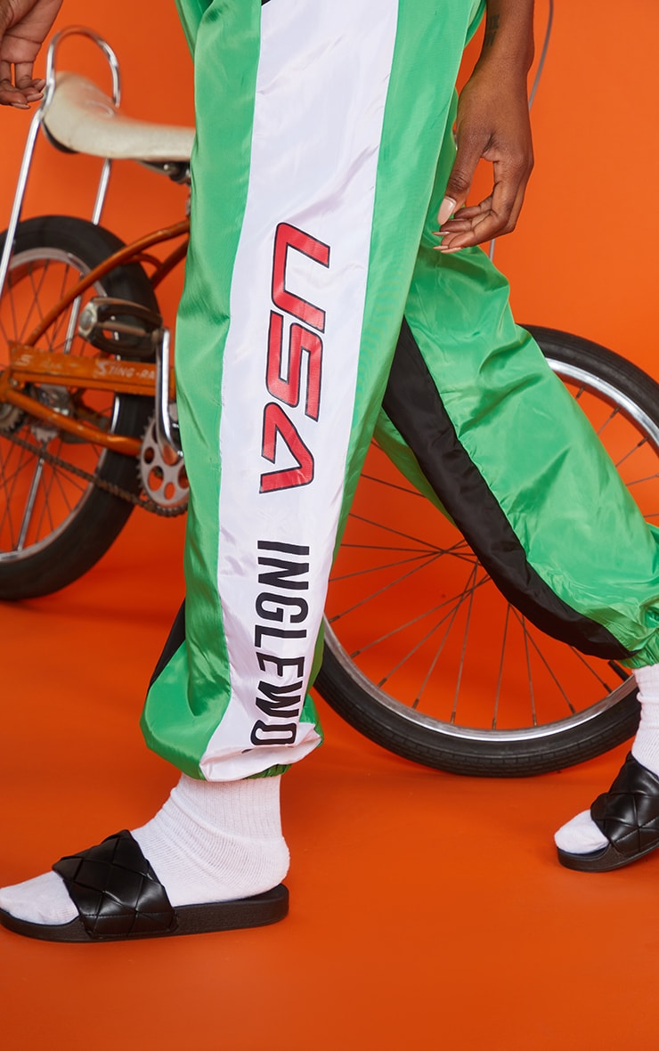 Green Motocross Panelled Cargo Joggers 4