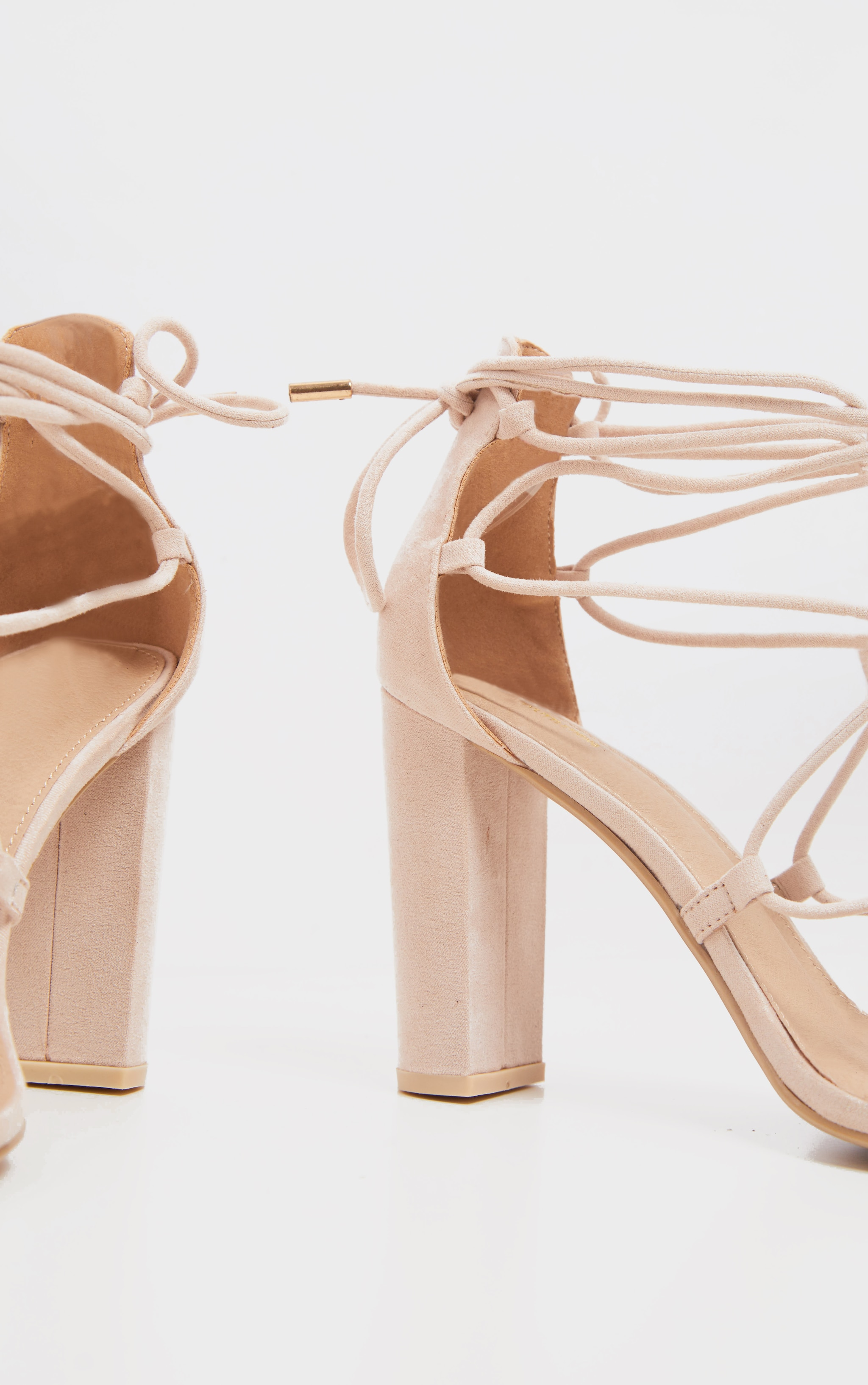 Nude Block Heel Ghillie Tie Up Sandal 3