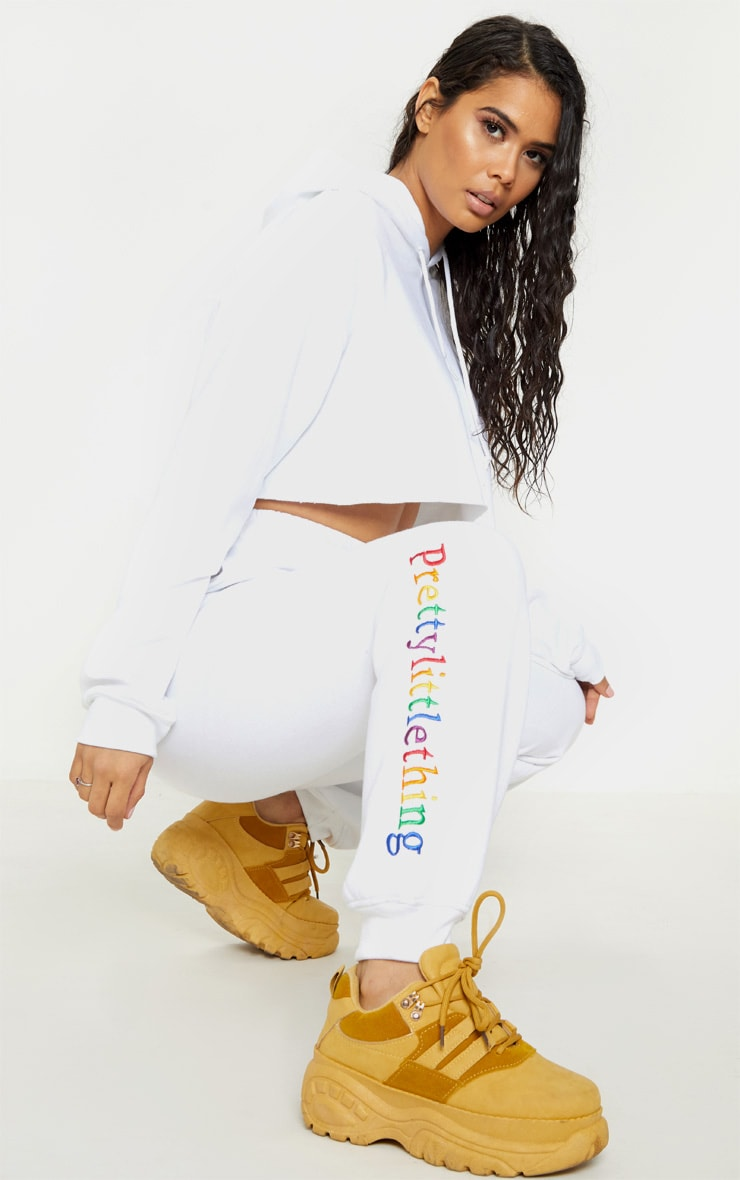 PRETTYLITTLETHING White Embroidered Logo Joggers