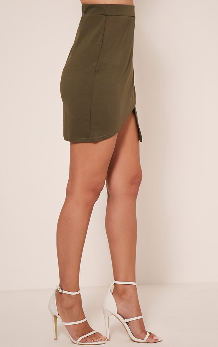 Marcella Khaki Asymmetric Wrap Mini Skirt 4