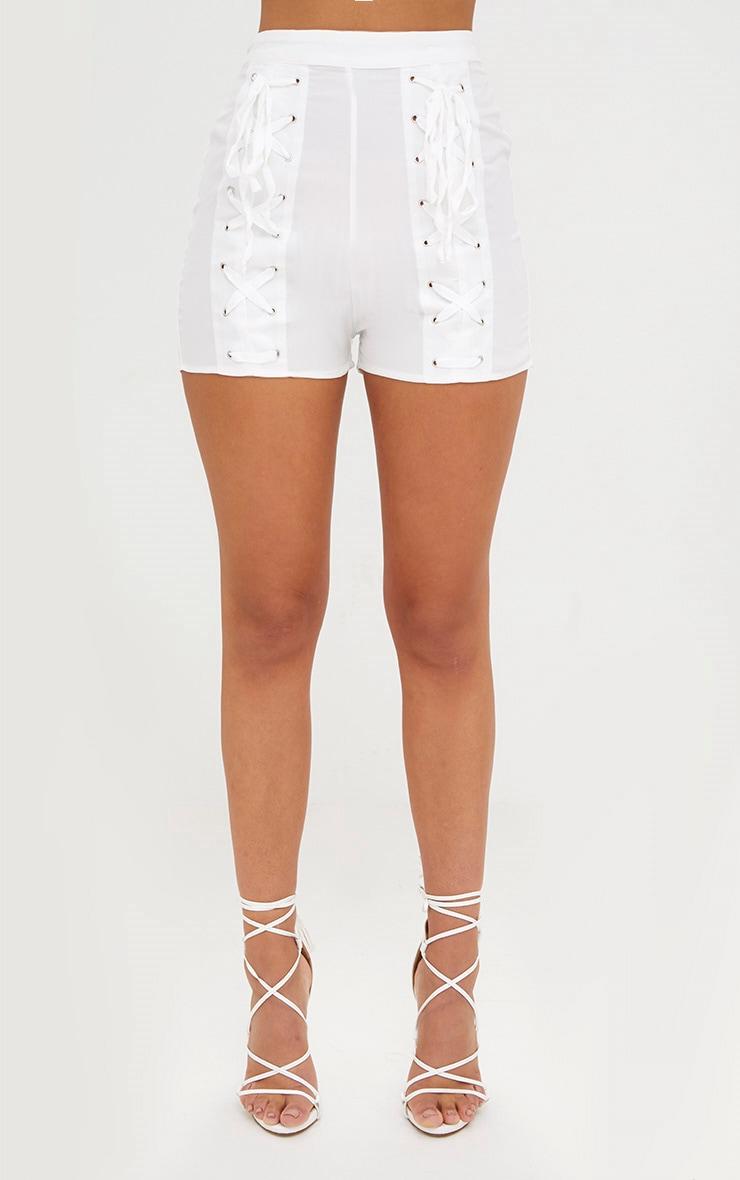 White Lace Up Suit Shorts 2