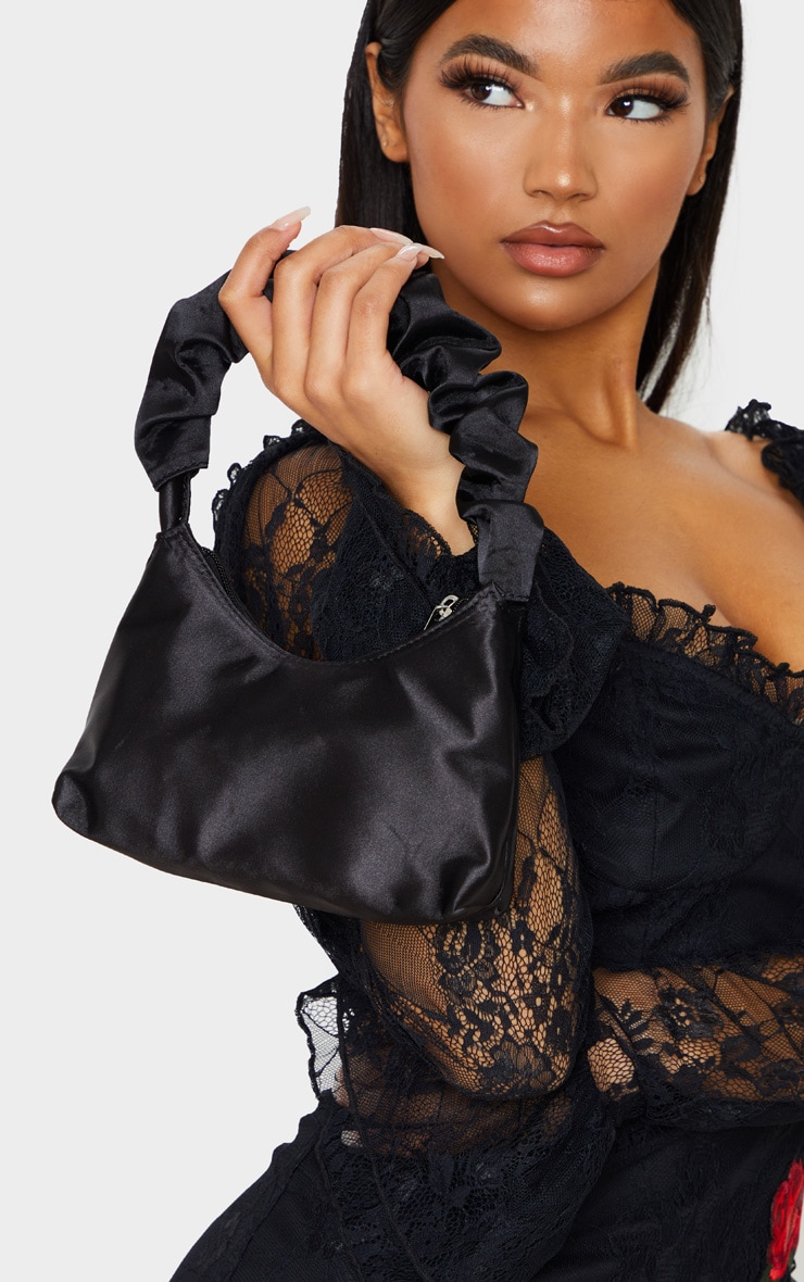 Black Satin Ruffle Handle Shoulder Bag 2