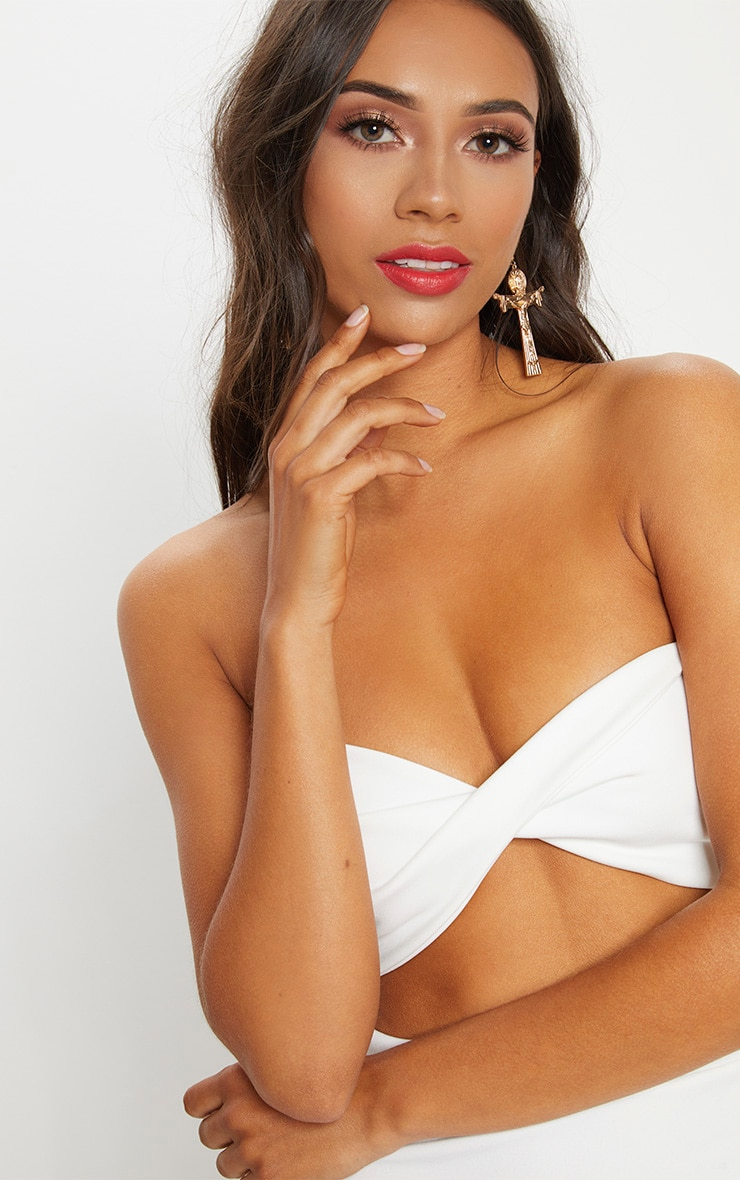 Cream Scuba Twist Front Bandeau Crop Top 5