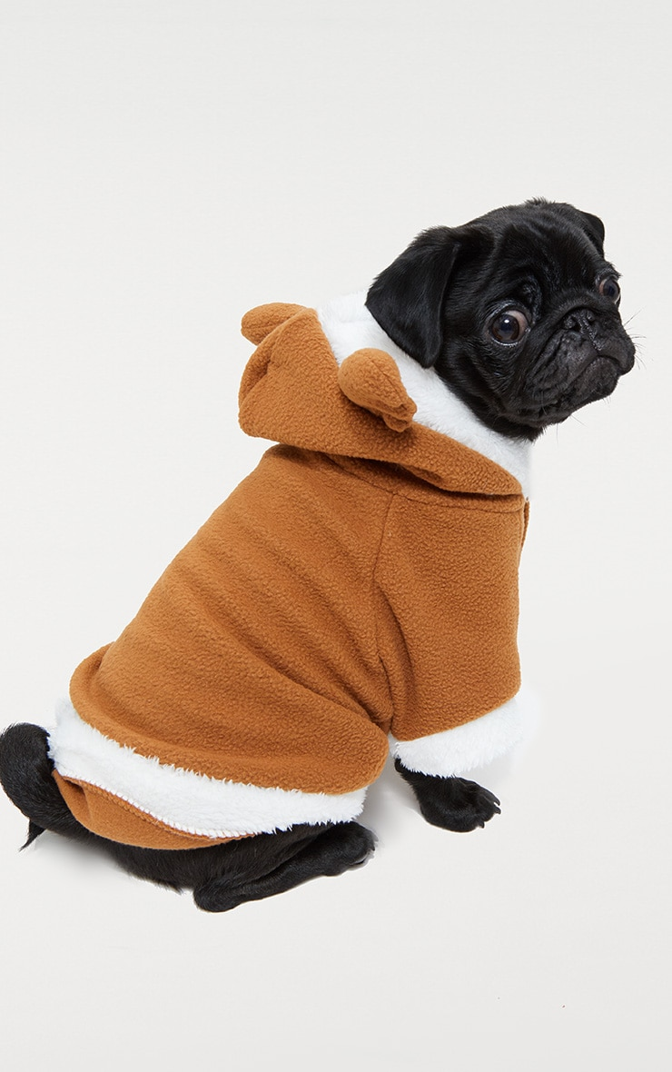 Brown Fluffy Reindeer Doggy Costume 2