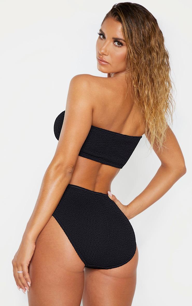 Black Crinkle Strapless Bandeau Bikini Top 2