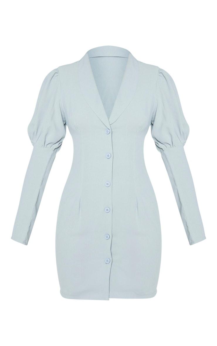 Robe blazer vert sauge à manches ballon & boutons 5