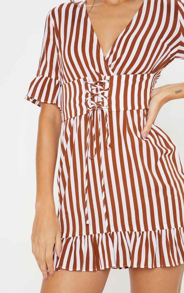 Rust Stripe Corset Swing Dress 5